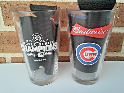 Chicago Cubs/Budweiser 2016 Baseball World Series Pint Beer Sign Glasses..2..New