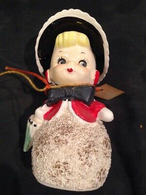 Vintage TMJ Japan Woman With Hat & Umbrella Bell RARE