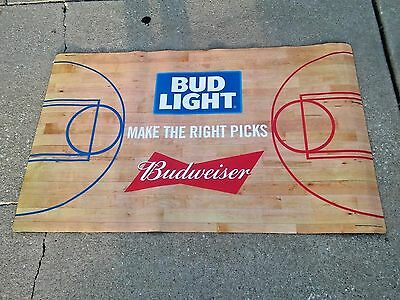 Budweiser/Budlight March Madness Hoops Floor Mat Beer Sign.3'x5'.MADE IN USA.NIB