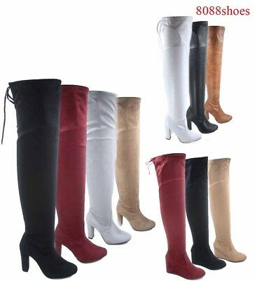 Women's Fashion Sexy Over The Knee Zip Chunky Wedge Heel Boots Size 5.5 - 10 NEW