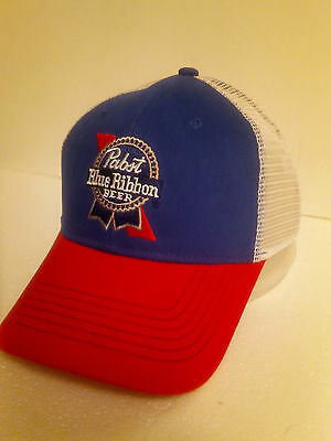 Pabst Red,White & Blue Cloth & Mesh Snapback Baseball Beer Sign Cap/Hat....B/New