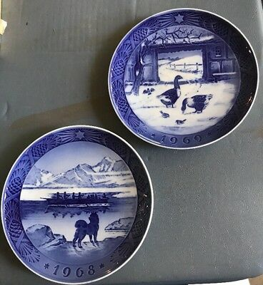 Royal Copenhagen Christmas plates 1968 & 1969
