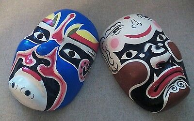 Two Vintage Colorful Kabuki Style paper mache Masks