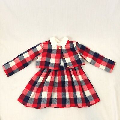 Toddler Size Suit Vintage Dress And Jacket Set Plaid Red White and Blue Pleated