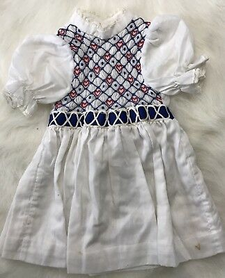 Vintage Girls Dress White Smocked Tie Back Short Sleeve White Lined Embroidered