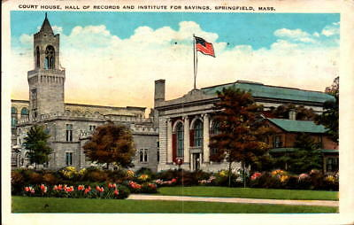 Postcard Court House Hall Records Institute for Savings Springfield MA 1928