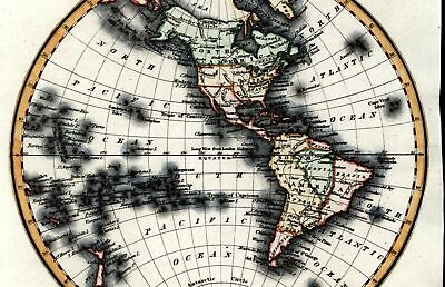 Western Hemisphere North South America New Albion Amazonia c.1835 Walker old map