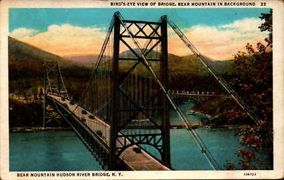 Postcard Bird's Eye View Bridge Bear Mountain Hudson River New York Unused