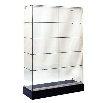 #sagw4B 6'tall Full Vision All Glass Wallcase Trophy Glass Display Case Black