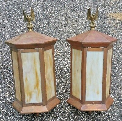 Pair Lge Copper Hexagonal Lanterns_Stained Glass_Brass Eagle Finials Restored Nr