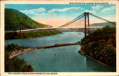 Postcard Bear Mountain Hudson River Bridge Unused