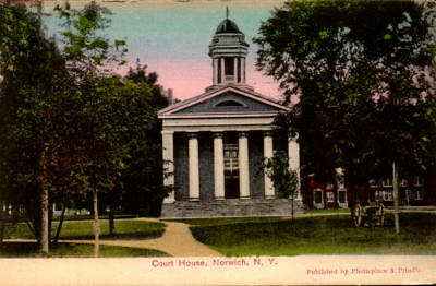 Postcard Court House Norwich New York 1910 postmark