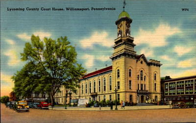 Postcard Lycoming County Court House Williamsport Pennsylvania  Linen unused