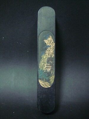 """Quality Rare Old Chinese Carving Black Ink Stick Signed """"JiaQing"""" QA549"""