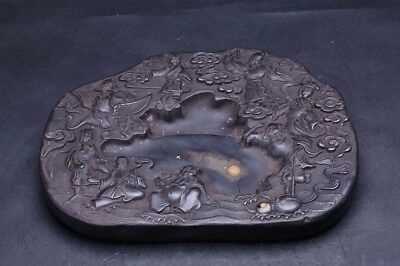 Rare Heavy Old Chinese Hand Carving Figures Ink Stone InkSlab Marks QA632