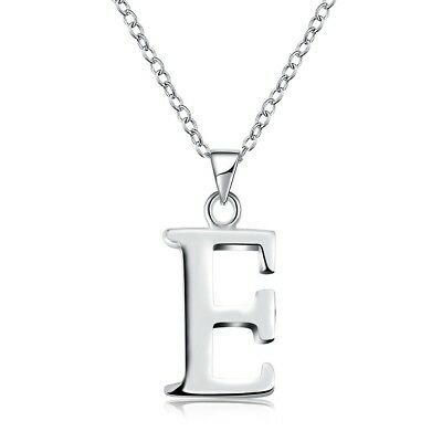 "Women's Silver Plated Pendant Letter E Necklace 18"" Link Style Fashion Jewelry"