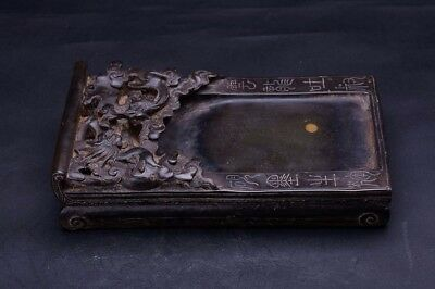 Very Rare Heavy Old Chinese Hand Carving Dragons Ink Stone Ink Slab Marks QA628