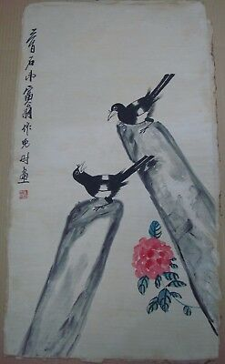 "Large Old Chinese Hand Painting Flower Birds ""QiBaiShi"" Mark QA613"