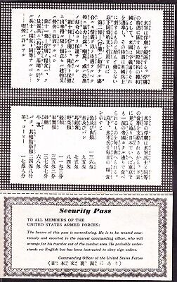 """US WWII Japanese Surrender Leaflet """"Security Pass"""" VERY RARE!"""