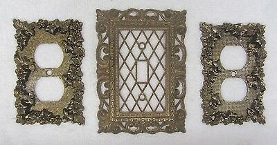 3 Vintage 1968 AMER TACK HDWE Electrical Outlet & Switch Plate Cover Home Decor