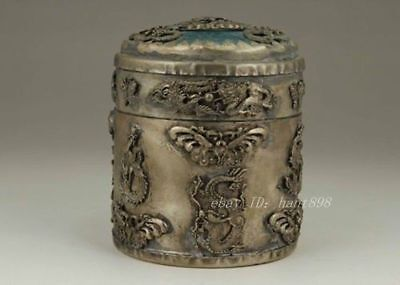 Chinese Old Tibet Silver Handwork Inlay Dragon Phoenix Tobacco Box Za151