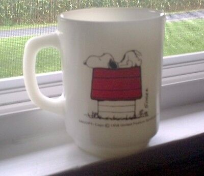 Vintage Anchor Hocking Peanuts Snoopy Allergic to Morning Mug