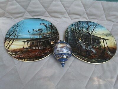 Lot of 2 Terry Redlin Hadley House 1986  Collector Plates and 2001 Ornament