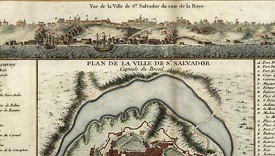 Salvador Bahia Brazil churches forts view 1756 Bellin vintage old city plan map