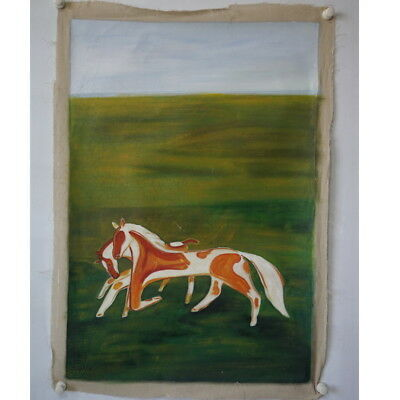 Excellent old Chinese Oil Painting on canvas By Sanyu Chang yu: horse 015