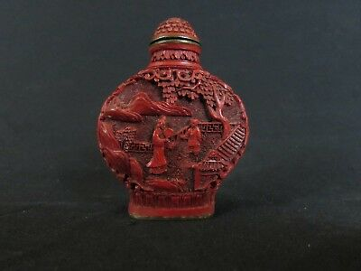 Marked Chinese Cinnabar-like Composite Snuff Bottle w/Detailed Figural Landscape