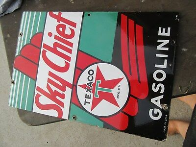 "SKY CHIEF GASOLINE  AUTOMOTIVE SIGN 3/1941 PORCELAIN 18"" x 12"" AUTHENTIC"