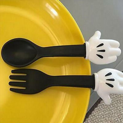 2 x Cute Kids Baby Feeding Fork and Spoon Cartoon Flatware Spoon Fork Feed LJ