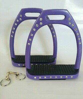 "Stirrups, purple, 4.5"" Diamante lightweight Aluminium stirrups. Premium quality"