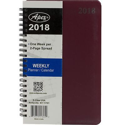 2018 Student Weekly Planner Calendar Notebook Agenda Red Spiral Cover