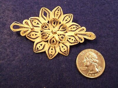 Neat, Vintage Antique Mexican 900 Sterling Silver Filigree 'Flower' Brooch/Pin