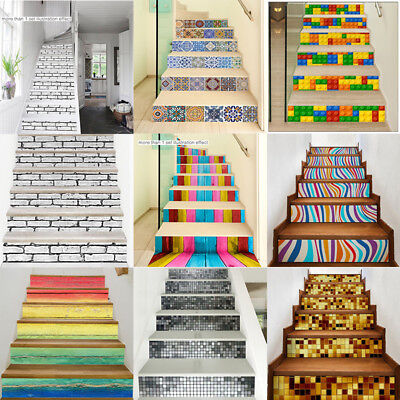6 PCS Staircase Stair Riser Floor Vinyl Sticker 3D Self-adhesive DIY Wall Decal