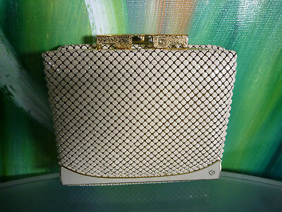 Vintage 80s Beige Gold GLOMESH METAL MESH Purse ID WINDOW WALLET NEAR NEW Cond