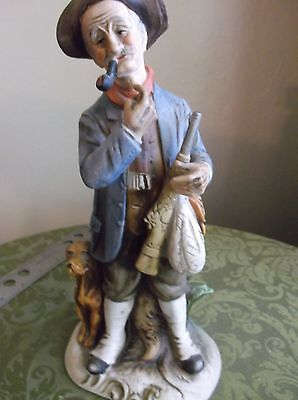 Beautiful Porcelain  Old Man Statue With Hunting Dog  Capodimonte  early1900's