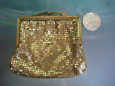 Vintage GOLD Brass GLOMESH COIN PURSE Square Frame VGC So many more listed