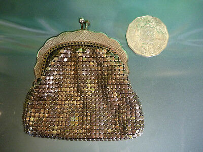 SMALL Vintage Rose Gold GLOMESH Mini COIN PURSE METAL MESH many more listed
