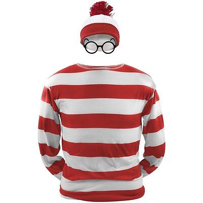 Where's Wally Waldo Now Red&&White Cosplay Costume Shirt Sweater+Hat+Glasses