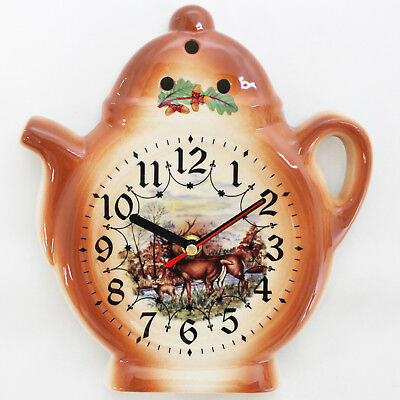 Wall Clock for Kitchen - Ceramic - Country House Style with wildlife animal