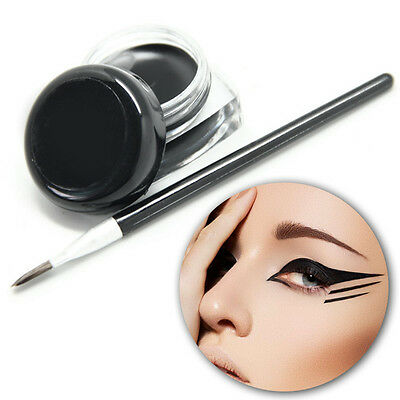 HOT! Waterproof Eye Liner Eyeliner Gel Makeup Cosmetic + Brush Black ONE  de