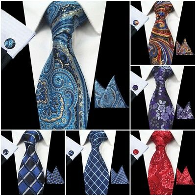 Hot Mens Silk Paisley Ties Wedding Party Neckties Gift Tie+Hanky+Cufflinks Sets