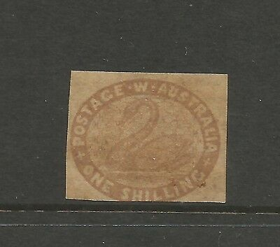 C2/73A  WESTERN AUSTRALIA 1854 1/- IMPERF  BROWN F/ Mint  NO FAULTS 3 MARGINS
