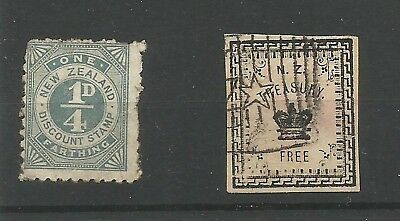 NZ/a22 NEW ZEALAND REVENUES AS SCANNED, 1/4d  Discount  & Treasury Free stamps