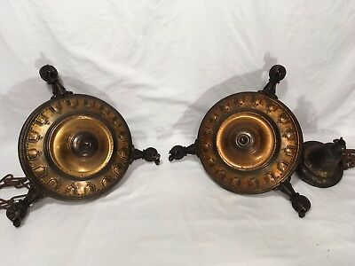 Pair Antique Brass Pan Chandeliers Arts & Crafts Mission Light Fixture Lamp VTG