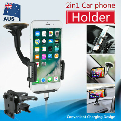 Universal 360° Car Windshield Mount Holder Cradle For iPhone 8 X 7 Plus Samsung