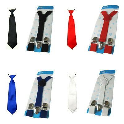 Boy Kid Child School Satin Neck Tie Solid Color Elastic Y-Back Suspenders Set