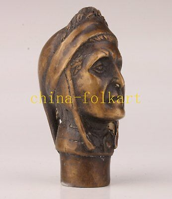 Bronze Statue Great Historical Figure Cane Walking Stick Head Handle Collection